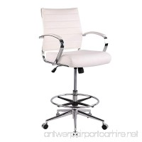 Poly and Bark Tremaine Drafting Chair in Vegan Leather  White - B07B4JZ6S6