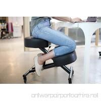 Sleekform Kneeling Posture Chair   Adjustable Ergonomic Office Stool with Rollerblade Wheels for Computer Work  Gaming  Meditation and Back Relief   Black Faux Leather - B074KJNNSK