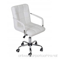 TMS White Modern Office Executive Synthetic Leather Swivel Arms Chair Computer Desk Task - B00MWEGMCM