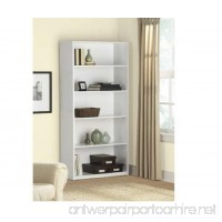 5-Shelf Wood Bookcase - White - B076MZTHL2