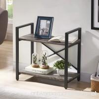 BON AUGURE 2-Shelf Multipurpose Open Narrow Etagere Bookcase  Industrial Small Bookshelf  Dark Oak - B07CGCVN82
