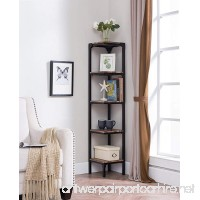 eHomeProducts Reclaimed Weathered Oak Finish Black Metal Wall Corner 5-Tier Bookshelf Bookcase Accent Display Shelf - B07D83GVZD