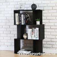 Homury Modern Wood Bookcase Storage Shelving Stand Bookshelf MultiMedia Storage Cabinet Organizer Black - B075WS5RBV