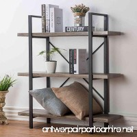 HSH Furniture 3-Shelf Bookcase  Rustic Bookshelf  Vintage Industrial Metal Display and Storage Tower  Dark Oak - B074FQBDCZ