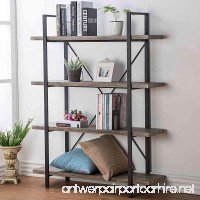 HSH Furniture 4-shelf Vintage Industrial Bookshelf  Rustic Wood and Metal Bookcase  Open Wide Office Etagere Book Shelf  Dark Oak - B071HTCYHH