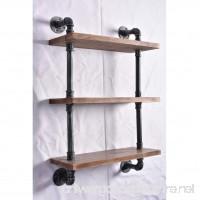 Industrial Pipe Shelving Bookshelf Rustic Modern Wood Ladder Pipe Wall Shelf 3 Tiers Wrought IronPipe Design Bookshelf Diy Shelving - B06XMZFR6S