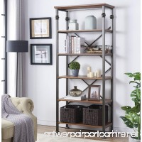 "O&K Furniture 6-tier Industrial Style Bookcase  Vintage Free Standing Bookshelf  76""x 32.7""x 16.1""  Maple Finish - B0739VTBHK"