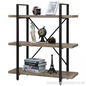 Ollieroo Rustic Vintage Bookcase Industrial Bookshelf Grain Wood and Metal Shelves Furniture (3 Tier) - B078MXVBQK