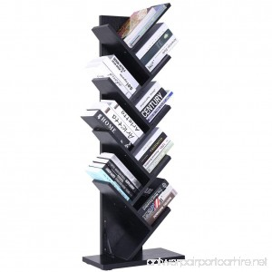 SUPERJARE 9-Shelf Tree Bookshelf | Thickened Compact Book Rack Bookcase | Display Storage Furniture for CDs Movies & Books | Holds Up To 10 Books Per Shelf | Black - B079BT8LR6