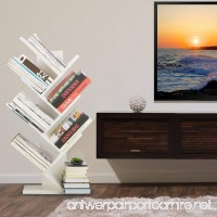 WSTECHCO 7 Shelf Tree Bookshelf Compact Book Rack Bookcase Display Storage Furniture for CDs Movies & Books Holds Up To 7 Books Per Shelf (White) - B0792V88D7