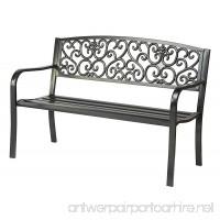 "50"" Black Steel Garden Bench By Trademark Innovations - B016E4JWQ8"