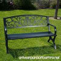 "Belleze 50"" Garden Backyard Bench  Metal  Black - B01CDNE3V8"