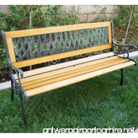Belleze Outdoor Garden Bench Path Porch Patio Seat Cast Iron Hardwood - B01H0V23AQ