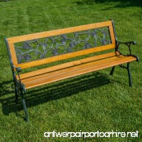 Belleze Patio Park Garden Bench Porch Path Chair Outdoor Deck Cast Iron Hardwood - B01CDR8IMO