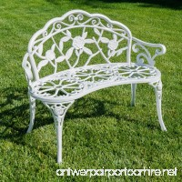 Belleze Rose Style Love Seat Bench White Cast Iron Antique Designed Outdoor Patio Porch Home Garden Parks Backyard Pool - B01CDNE37C
