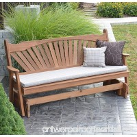 CEDAR PORCH GLIDER BENCH Outdoor Patio Gliding Bench  2 Person Wooden Loveseat Benches  Amish Made Furniture Weather Resistant Western Red Cedar Wood  5 Styles (6ft  Fanback Oak Stain) - B07CQ5LQ2T