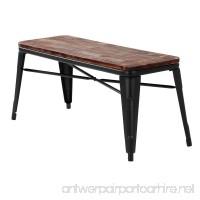 iKayaa 2 Seater Dining Bench Chair Natural Pinewood Top Metal Frame Patio Garden Bench Furniture - B07521HDCN