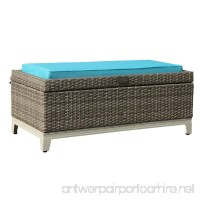Orange Casual Aluminum Frame Resin Wicker Storage Bench With Tea Table Function Gray Rattan and Blue Cushion - B07F2WTJ4D