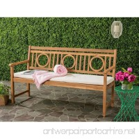 Safavieh PAT6736A Outdoor Collection Montclair 3 Seat Bench  Teak Brown/Beige - B01N11LM50