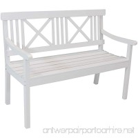 Sunnydaze 2-Person Wooden Patio Bench with X-Back Design 47-Inch White - B07FYQ6PGR