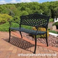 Sunnydaze Black Checkered Cast Aluminum Outdoor Patio Garden Bench  2-Person - B072L6CHJC