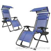 2-Pack Sun Shield Canopy Reclining Zero Gravity Outdoor Chair with Cup Holder for Patio Lounge  Blue - B06X3S5KHB