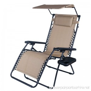 Adeco OutdoorFolding & Reclining Zero Gravity Chair with Canopy Awning For Lounge Patio Yd Beach Foldable & Mobile Grey Blue - B014X61OGK