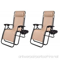 BTEXPERT Zero Gravity Chair Case Lounge Outdoor Patio Beach Yard Garden with Utility Tray Cup Holder  Tan Beige  Set of 2 - B06Y66HDSP