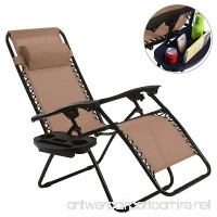 DUSTNIE Reclining Folding Zero Gravity Chair - Outdoor Patio Portable Chaise Lounge Chairs Pool Beach Yard Garden Lounger Sunbathing Tanning Recliner Seat W/Utility Tray Cup Holder - Brown - B07FY28QNH