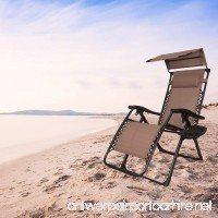 EACHPOLE Outdoor Zero Gravity Infinity Lounge Chair with Canopy for Sun and Cup Holder for Patio  Brown  APL1556 - B06VTCF8CJ