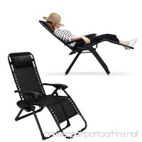 Ezcheer Zero Gravity Chair  Supports 330 lbs Heavy Duty Patio Lounge Chair Comfortable Outdoor Camping Beach Chair Recliners with Cup Holder (Black) - B07C95L8PD