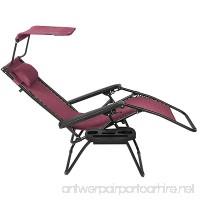 Folding Zero Gravity Oversized Zero Recliner Lounge Chair W/ Magazine Cup Holder & Canopy Shade (Burgundy) - B0771BVTJ9