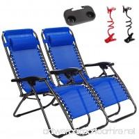 Nlyefa 2pcs Zero Gravity Lounge Beach Chairs with Utility Tray Folding Outdoor Recliner Black - B079CHB8TZ
