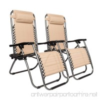 Olym Store Lounge Chair Outdoor Zero Gravity with Pillow and Cup Holder Set of Two(Khaki) - B07BHGZRHB