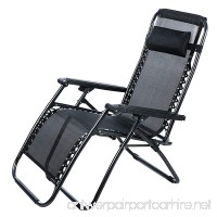 Wakrays Folding Zero Gravity Reclining Lounge Portable Garden Beach Camping Outdoor Chair (Black) - B01IGPJA7O