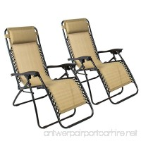 Zero Gravity Chairs Case Of (2) Tan Lounge Patio Chairs Outdoor Yard Beach New Tan - B013QRVF3O