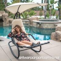 Belleze Rocker Chaise Hanging Sun Canopy Patio Chair Outdoor Backyard Rocking Lounge Shade w/Pillows Cushions White - B07DD4NQ3M