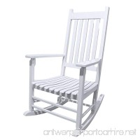 Caymus White Solid Hardwood Outdoor Rocking Chair Country Plantation Porch Rocker Provide Comfortable Seating on Patio or Deck - B06Y22NDBV