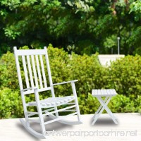 Coismo Outdoor Solid Wood Rocking Chair Porch Rocker with Side Table White - B073TSJHKY