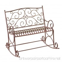 Collections Etc Outdoor Metal Scroll Double Rocking Chair Garden Bench Porch Patio Deck Glider - B07CQSTR4P