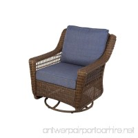 Hampton Bay Spring Haven Brown All-weather Wicker Patio Swivel Rocking Chair with Sky Blue Cushions - B00TZMVVZC