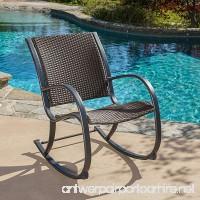 Leann Outdoor Dark Brown Wicker Rocking Chair - B00WRDRI80