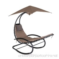SMONTER Patio Rocking Wave Lounger Chair Outdoor Portable Recliner Pool Chaise with Sun Shade  Tan - B06XDP7VCV