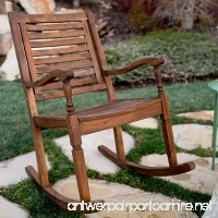 WE Furniture Solid Acacia Wood Rocking Patio Chair - Dark Brown - B06XHLW4CH