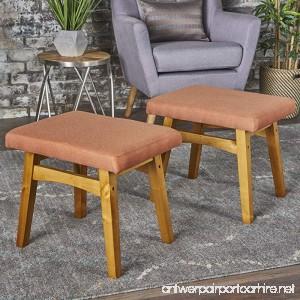 Analise Foot Stool Ottoman   Mid Century Modern Danish Design   Upholstered in Orange Fabric (Set of 2) - B075HVJVMM