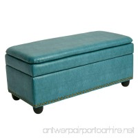 BrylaneHome Extra Wide Ottoman With Studs (Blue Haze 0) - B0772CM476