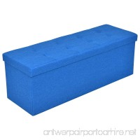Folding Ottoman Bench Storage Stool Box Footrest Furniture Decor Blue 43 Inch - B078NV8G91