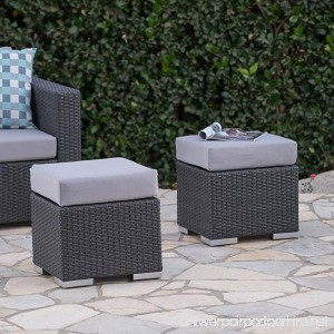 Great Deal Furniture Malibu Outdoor 16 Inch Grey Wicker Ottoman Seat with Silver Water Resistant Cushion (Set of 2) - B078814LH3