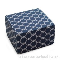 Indoor/Outdoor Square Pouf Ottoman Made with Spun Polyester Fiber in Nautical Knots Finish 25L x 25W x 15H in. - B073DXSRS2