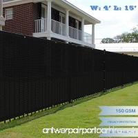 E&K Sunrise 4' x 15' Black Fence Privacy Screen  Commercial Outdoor Backyard Shade Windscreen Mesh Fabric 3 Years Warranty (Customized Sizes Available) - Set of 1 - B0773733K1